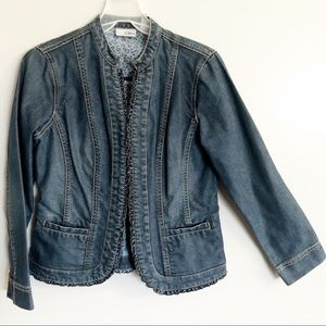 Chico's Ruffle Trim Fitted Denim Jacket Blazer 4 6